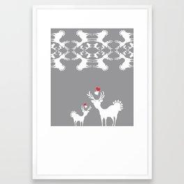 Cervidae Deer Pattern with Heart Framed Art Print