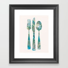 Fork, spoon and knife all in pink Framed Art Print