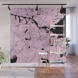 Amsterdam Pink on Black Street Map Wall Mural
