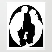 pushing daisies Art Prints featuring Pushing Daisies silhouette kiss by Reggie Vass
