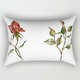 Loose Watercolor Rosebuds Rectangular Pillow
