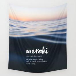 Meraki Word Nerd Definition - Purple Watercolor Wall Tapestry