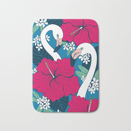 Flamingos and tropical flowers and leaves Bath Mat