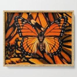 ORANGE MONARCH BUTTERFLY PATTERNED ARTWORK Serving Tray