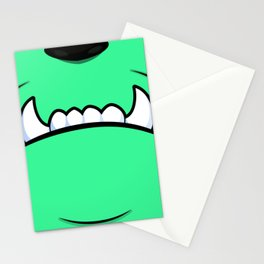 Green Monster With Fangs Stationery Cards