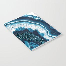 Blue White Agate with Blue Glitter #1 #gem #decor #art #society6 Notebook
