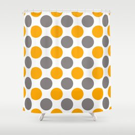 Gray and yellow polka dots Shower Curtain