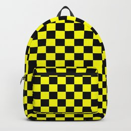 Yellow Black Checker Boxes Design Backpack