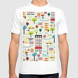 Fun New York City Manhattan travel icons life hipster pattern T-shirt