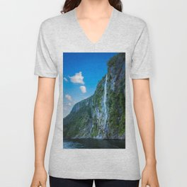 One of the numerous waterfalls falling down the sheer cliffs at Milford Sound. Unisex V-Neck