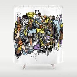 Music Collage Shower Curtain