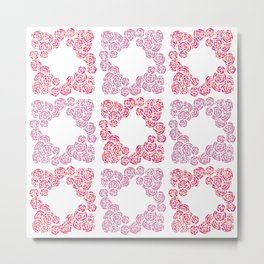 Digital Overlapping Colourful Cluster of Roses Design Metal Print