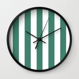 Deep aquamarine green - solid color - white vertical lines pattern Wall Clock
