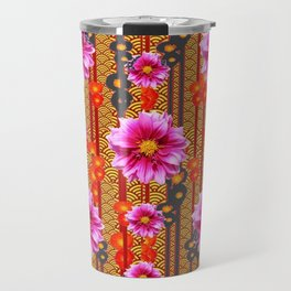 Purple Dahlias on Red & Orange Pattern Art Travel Mug