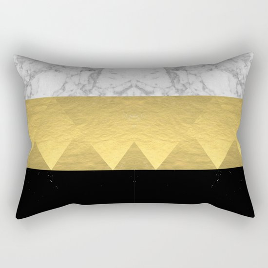 Stacked - gold foil black and marble cell phone case golden urban minimal retro modern city hipster  Rectangular Pillow