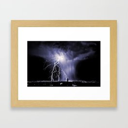 Lightning and Rain Funnel Framed Art Print