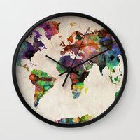 watercolor Wall Clocks featuring World Map Urban Watercolor by artPause