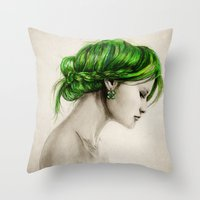 clover Throw Pillows featuring Clover by Isaiah K. Stephens