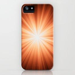 Orange and White Sunburst Abstract iPhone Case