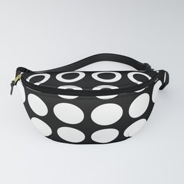Mid Century Modern Circles And Dots Black & White Fanny Pack