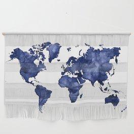 Dark navy blue watercolor world map Wall Hanging