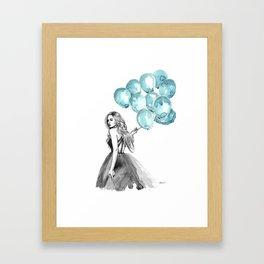Balloons Turquoise  Framed Art Print