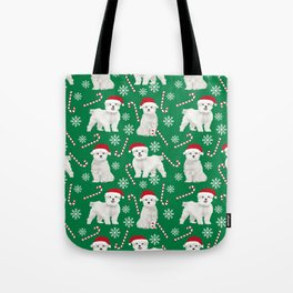 Maltese christmas festive dog breed holiday candy canes snowflakes pattern pet friendly dog art Tote Bag