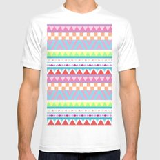 Aztec Pattern Two; MEDIUM White Mens Fitted Tee