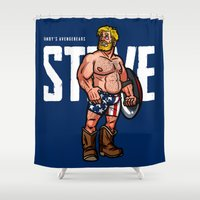 steve rogers Shower Curtains featuring Randy's AvengeBears: Steve the Bear by Randy Meeks