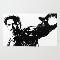robert downey jr Area & Throw Rugs featuring Iron Man - Robert Downey Jr by bailey harper