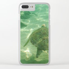 Swimming with the turtle Clear iPhone Case