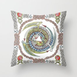 Celtic Dragons Throw Pillow