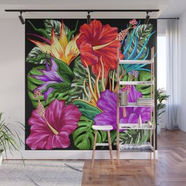 Tropical Flora Summer Mood Pattern Wall Mural