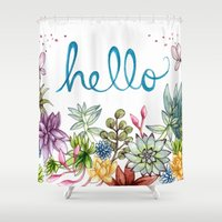 spring Shower Curtains featuring hello spring by Brooke Weeber