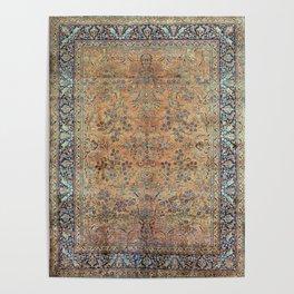 Kashan Floral Persian Carpet Print Poster