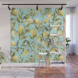 mediterranean summer lemon branches on turquoise Wall Mural