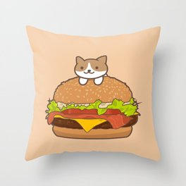 Neko Burger Throw Pillow