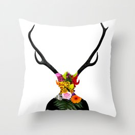 Deer head on flowers Throw Pillow