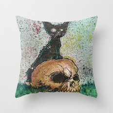 Black Cat with a Skull Throw Pillow