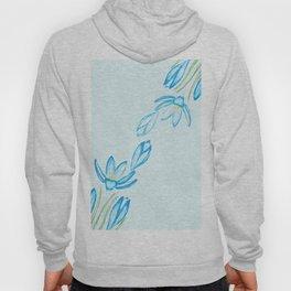blue botanical crocus flowers watercolor Hoody