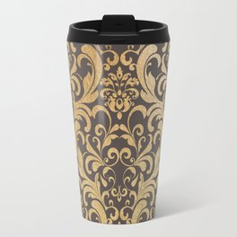 Gold swirls damask #1 Travel Mug