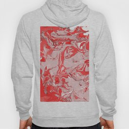 Red and white Marble texture acrylic Liquid paint art Hoody