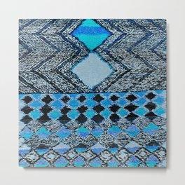 V32 Boho Blue Traditional Moroccan Carpet. Metal Print