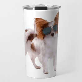 Papillon Dog In Aviator Best Gift For Dog Lover Travel Mug