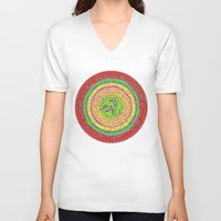 orange pattern V-neck T-shirts featuring Orange pattern  by MinaSparklina