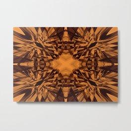 Orange kaleidoscope star pattern Metal Print