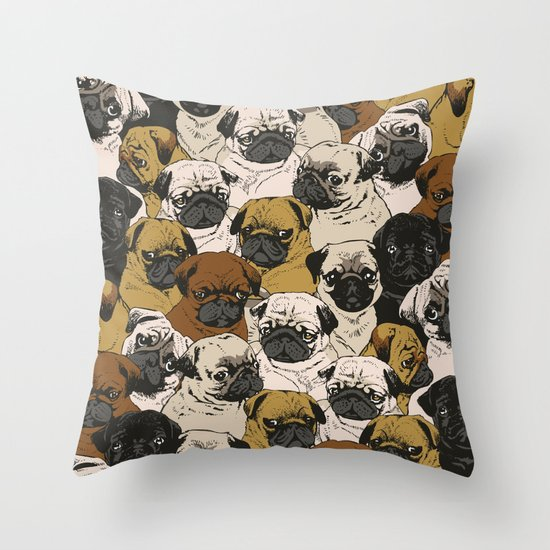 Social Pugz Throw Pillow