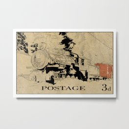 Vintage Steam Train on Postage Stamp Metal Print
