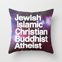 atheist Throw Pillows featuring RELIGION by CHAD MIZE /// CHIZZY