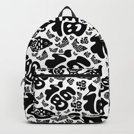 Chinese Lucky Symbols and Koi Fish - Black and White Backpack